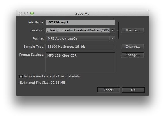 Audio file settings in Adobe Audition