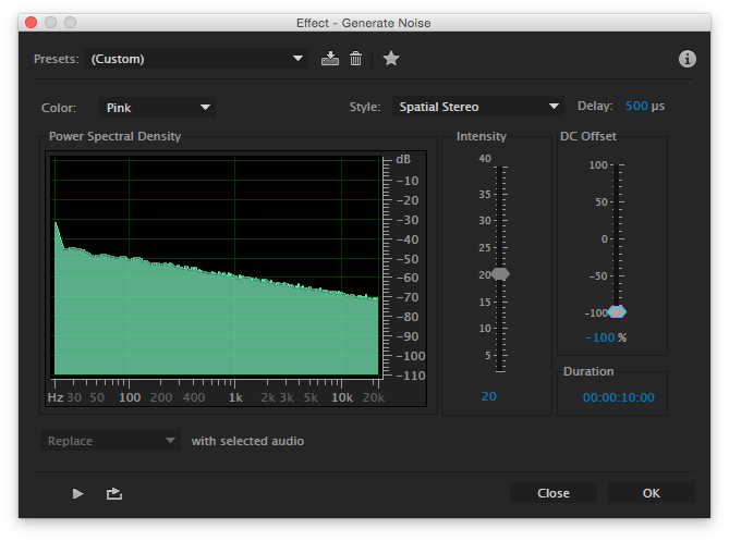 Generate Noise feature in Adobe Audition